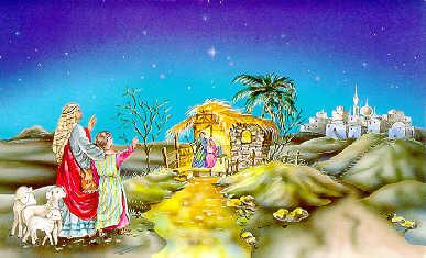 ...ihren Tieren zu dem Stall und erlebten, dass das neue Jesulein gerade...